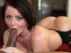 Sofie Dee Swallows a Big Black Dong!